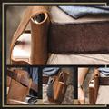 Retro Belt Waist Men's Bag Sports Running Outdoor Sports Cell Phone Leather Waist Bag For 2 Phone Men Multi-Function Key Pen Be preview-5
