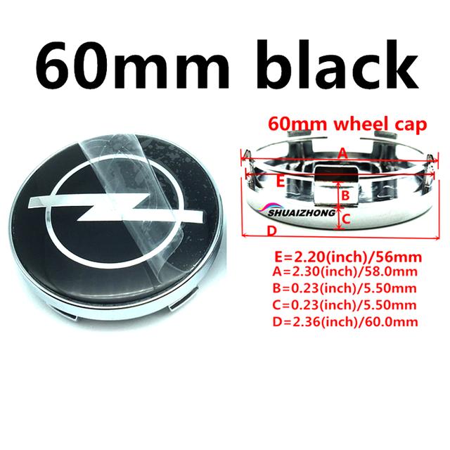 4pcs 60mm Black