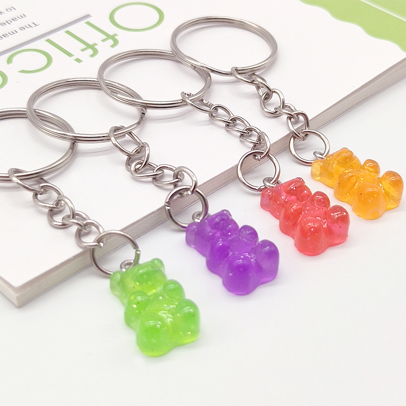 Flatback Resin Pendant Phone Charms Handbag Keyring Resin Cabochons Bear Keychain For Freinds Childrens Bag Pendant Jewelry