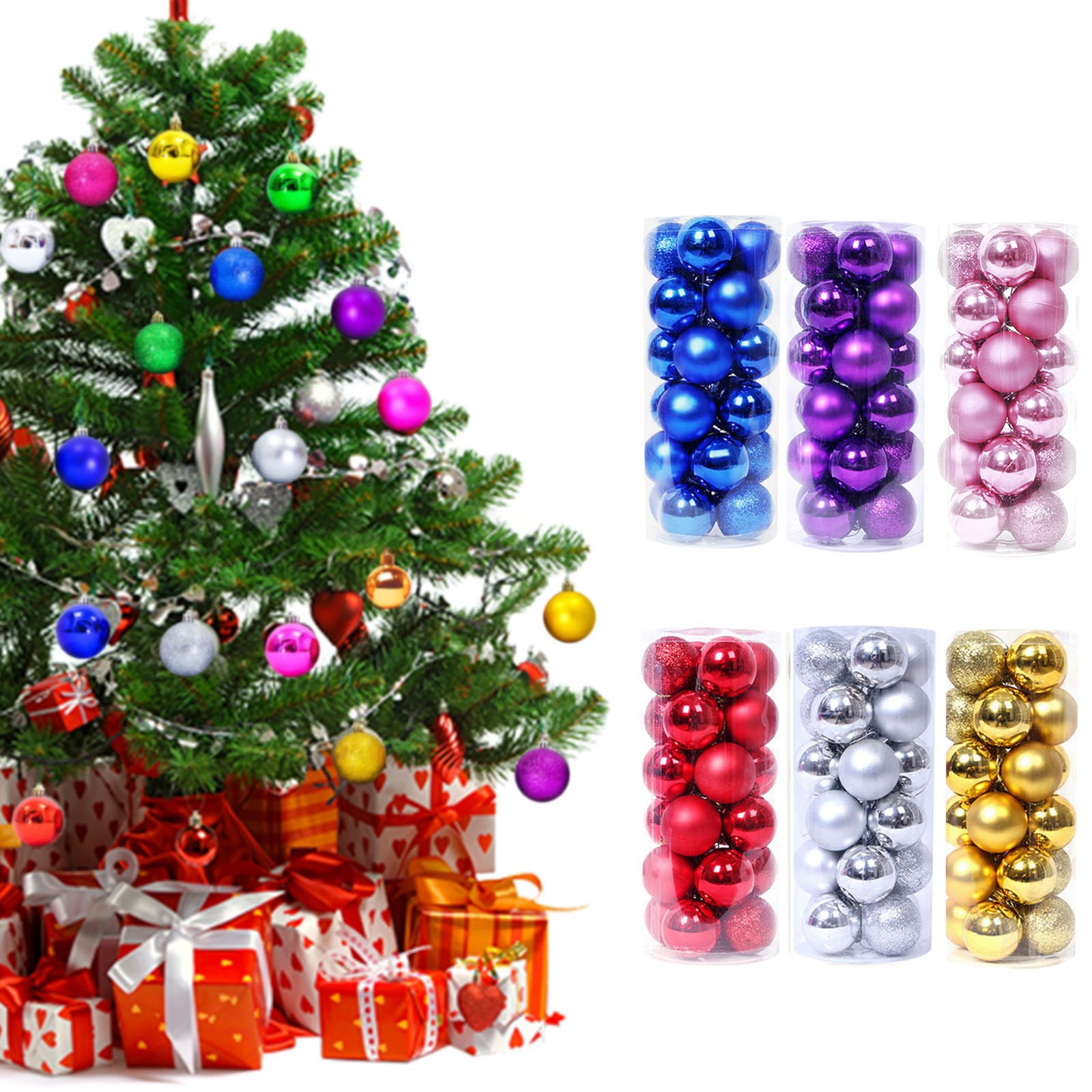 New 24 Piece Christmas Tree Ball Flash Bauble Hanging Family Party Decoration Holiday Christmas Decoration Home Decoration