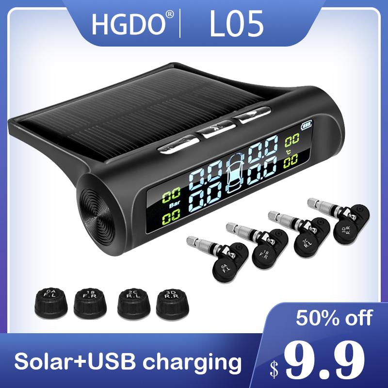 HGDO Seguridad del automóvil Sistema de alarma de presión de los neumáticos Energía solar Pantalla digital Smart Car TPMS Sistem