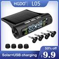 HGDO Seguridad del automóvil Sistema de alarma de presión de los neumáticos Energía solar Pantalla digital Smart Car TPMS Sistem preview-1