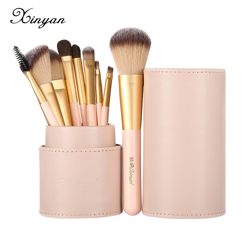 XINYAN Candy Makeup Brush Set Pink Blush Eyeshadow Concealer Lip Cosmetics Make up For Beginner Powder Foundation Beauty Tools