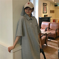 T-shirt Dress for Women Summer 2021 New Korean Style Loose Polo Collar Small Student Mid-Length Dress Ins preview-4