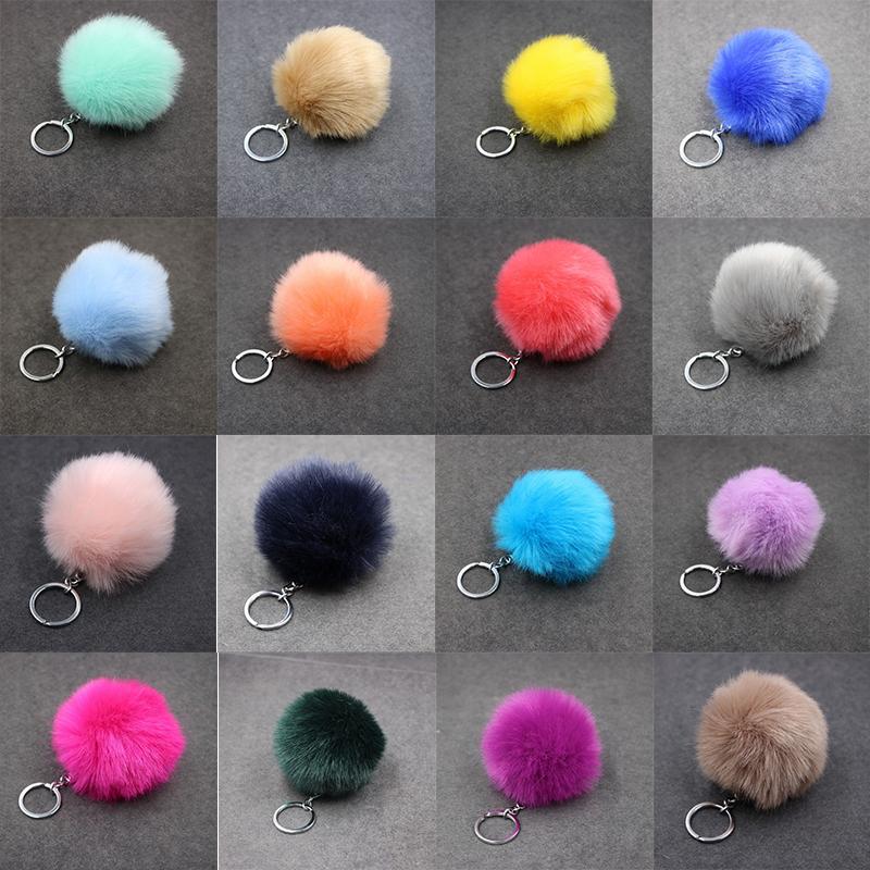 Christmas Gift Artificial Rabbit Fur Ball Plush Fuzzy Fur Key Chain POM POM Keychain Car Bag Keychain Key Ring Pendant Jewelry