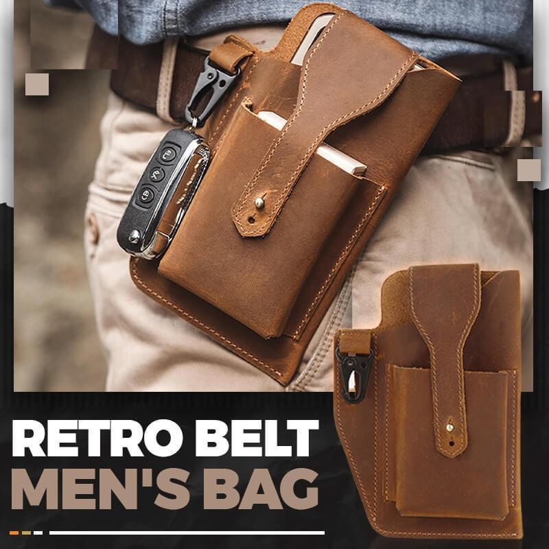 Retro Belt Waist Men's Bag Sports Running Outdoor Sports Cell Phone Leather Waist Bag For 2 Phone Men Multi-Function Key Pen Be