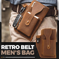 Retro Belt Waist Men's Bag Sports Running Outdoor Sports Cell Phone Leather Waist Bag For 2 Phone Men Multi-Function Key Pen Be preview-1