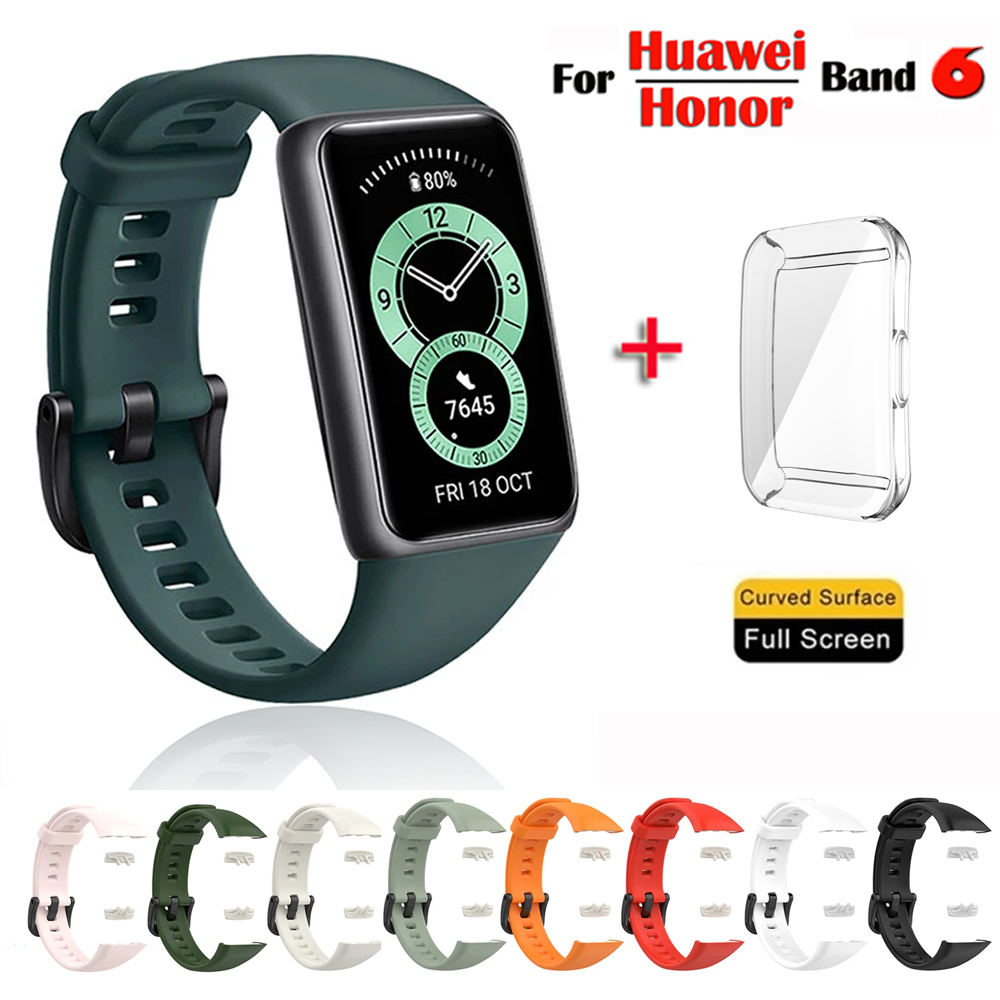 Silicone Strap For Huawei Band 6/6 Pro Strap With TPU Full Screen Protector Case Replacement Watchband For Honor Band 6 Strap