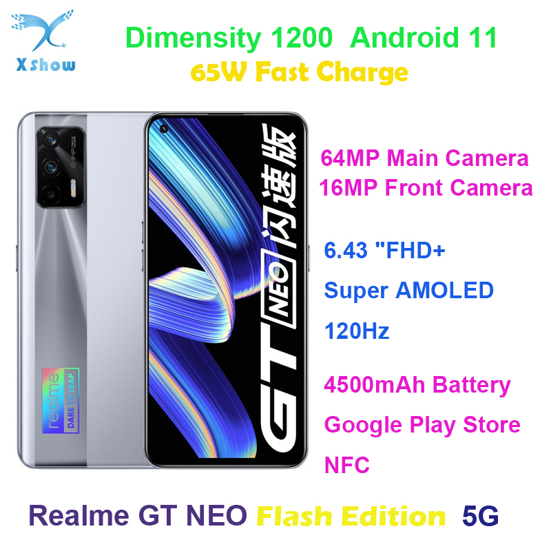 """Realme GT NEO 5G Smartphone 120Hz Super Amoled 6.43"""" Rear 64MP Front 16MP Fingerprint 50W Fast Charge 4500mAh NFC Mobile Phone"""