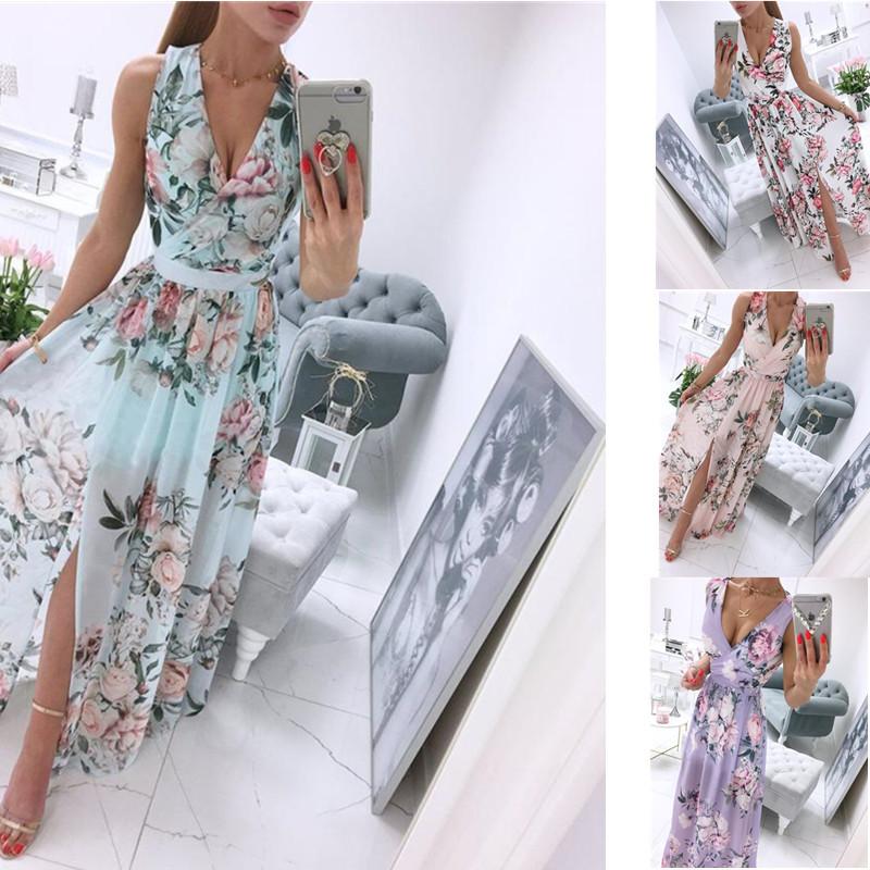 Women Summer Sleeveless Chiffon Maxi Dress Sexy Deep V Neck Floral Print Split Elegant Party Robe Longue  шифоновое платье 2021