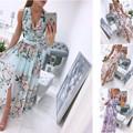 Women Summer Sleeveless Chiffon Maxi Dress Sexy Deep V Neck Floral Print Split Elegant Party Robe Longue  шифоновое платье 2021 preview-1