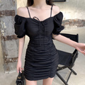Summer 2021 New Korean Style Elegant French Style Lightly Mature Puff Sleeve Pleated Drawstring Slim Slimming Dress for Women preview-3