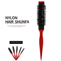 Bristle Wavy Curly Hair Brush Wood Handle Natural Fluffy Roll Brush Red Round Hair Comb Salon Hairdressing Styling Curler Comb preview-2