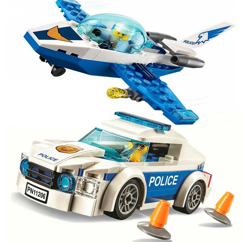 City Patrol Police Motorcycle Car Pursuit Prisoners Model Building Blocks Enlighten Action Figure Toys For Children