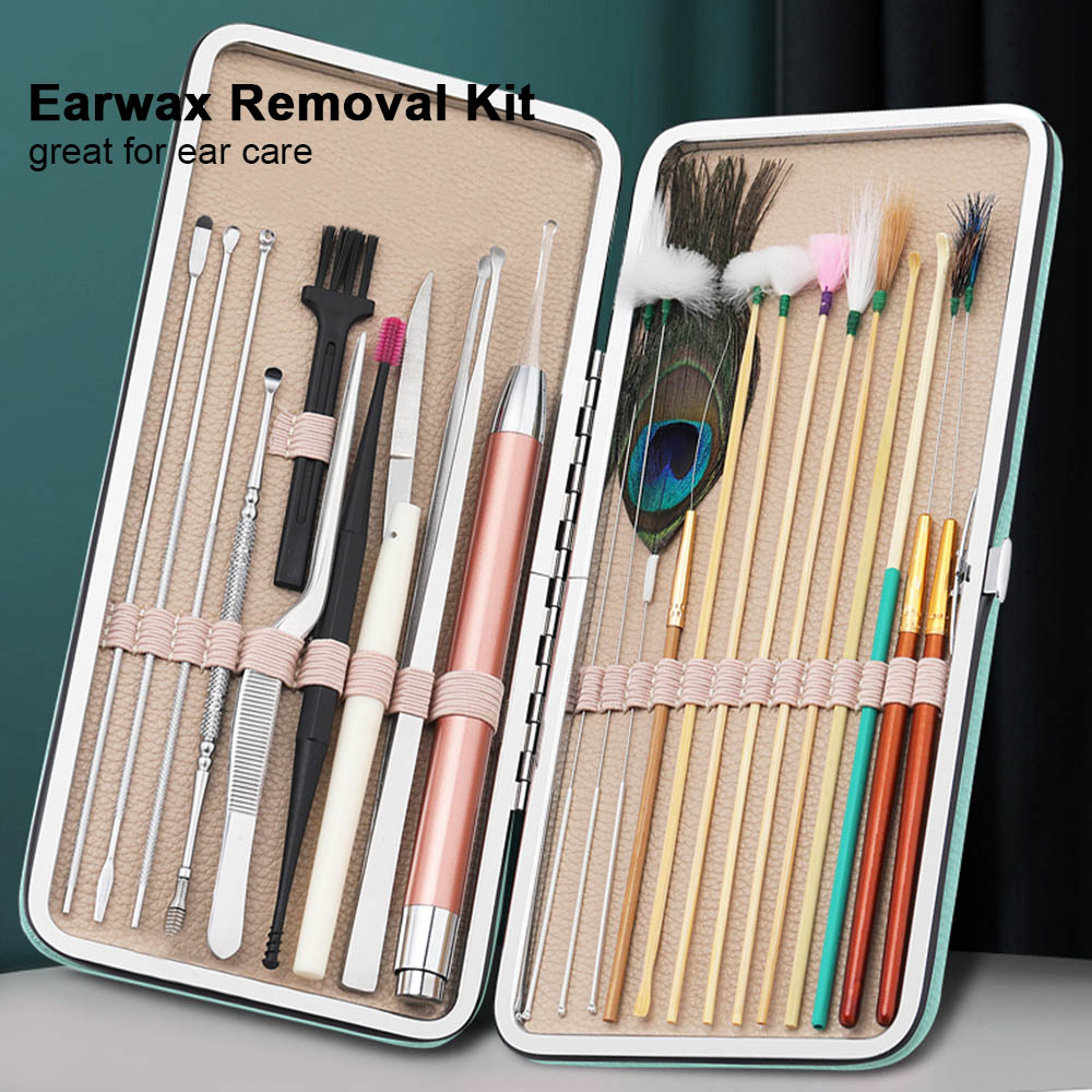 23PCS Ear Wax Removal Tool Kit Ear Pick Set Earwax Remover Spoon Ear Cleaning Care Tools with LED Light for Adult Ear Care
