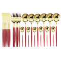 24Pcs Red Gold