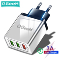 QGEEM 3 USB Charger Quick Charge 3.0 Fast USB Wall Charger Portable Mobile Charger QC 3.0 Adapter for Xiaomi iPhone X EU US Plug preview-1