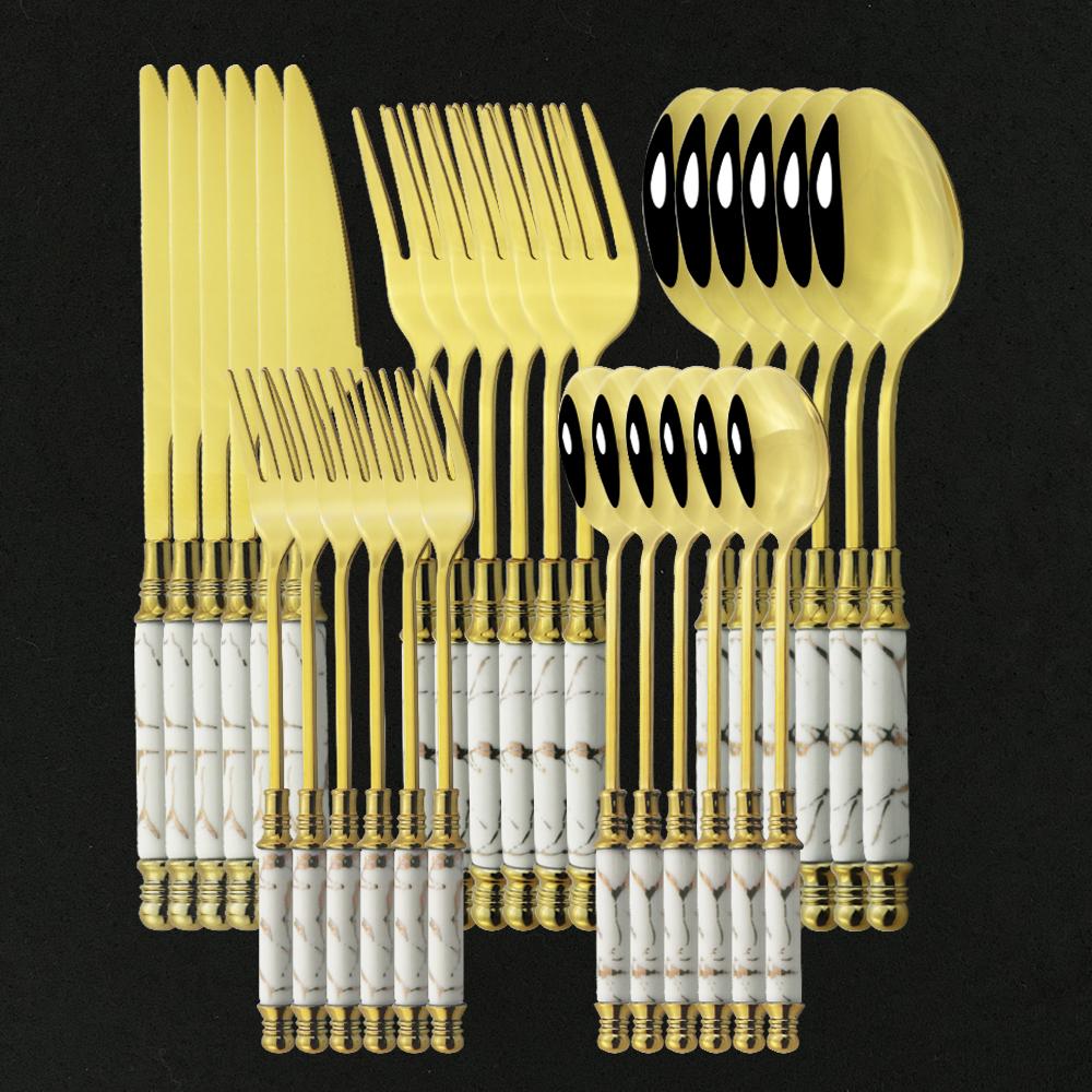 6/30pcs Ceramic White Gold Dinnerware Set Stainless Steel Cutlery Home Fork Spoon Knife Dinner Set Green Gold Flatware Set