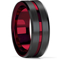 FDLK   8MM Men's Black Stainless Steel Ring Blue Red Groove Beveled Edge Wedding Engagement Anniversary Ring Jewelry For Men preview-2