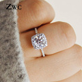 Fashion Luxury Crystal Engagement Ring for Women AAA White Cubic Zirconia Silver color Rings 2020 Wedding Trend Female Jewerly preview-1