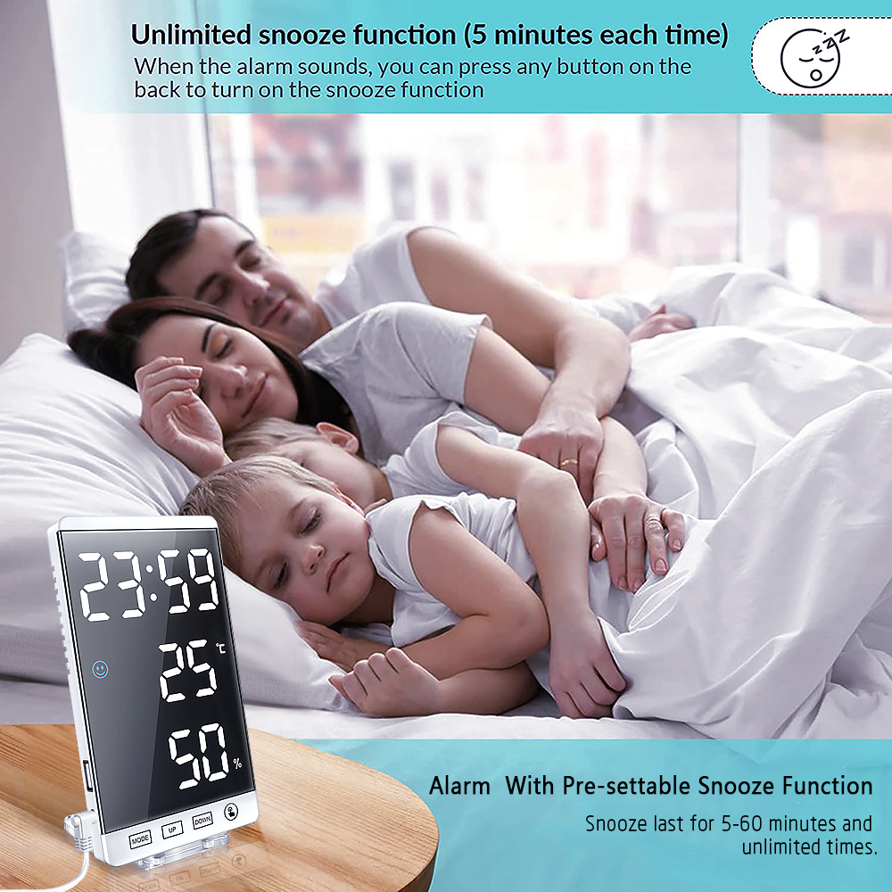 6 Inch LED Mirror Alarm Clock Touch Button Wall Digital Clock Time Temperature Humidity Display USB Output Port Table Clock preview-6