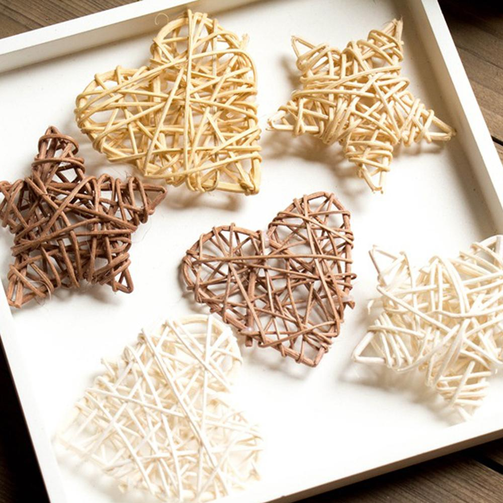 Photogragh Background Artificial Rattan Star Heart Straw Ornament Pendant Wedding Home Christmas Decoration Photo Props