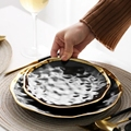 1\2pcs Gilt Rim Black Porcelain Dinner Plate Set Nordic Ceramic Plate Salad Dessert Christmas Plates Full Set Of Tableware preview-5