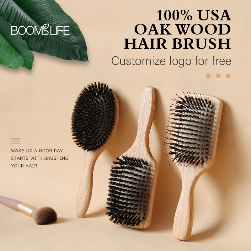 1PC Professional Denman Brush USA Oak Wood Hair Brush Airbag Brush Soft Boar Bristle Brush Hair Straightener Wood Brush For Hair
