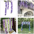 Artificial Silk Wisteria Vine Ratta Silk Hanging Flower Wedding Decor, 12 Pcs Fake Flowers Home Wall Garden Decoration preview-4