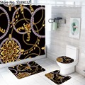 4 Pieces Hollow Shape Pattern Shower Curtain Sets with Bath Rug Toilet Cover Floor Mat Waterproof Bath Curtain Vintage Style preview-2