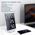 6 Inch LED Mirror Alarm Clock Touch Button Wall Digital Clock Time Temperature Humidity Display USB Output Port Table Clock preview-3