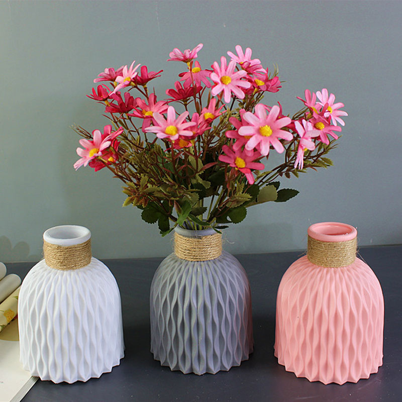 Modern Plastic Vase Home Decor European Imitation Ceramic Rattan Flower Arrangement Nordic Wedding Decorations Unbreakable Pot