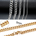 Vnox Cuban Chain Necklace for Men Women, Basic Punk Stainless Steel Curb Link Chain Chokers,Vintage Gold Tone Solid Metal Collar preview-5