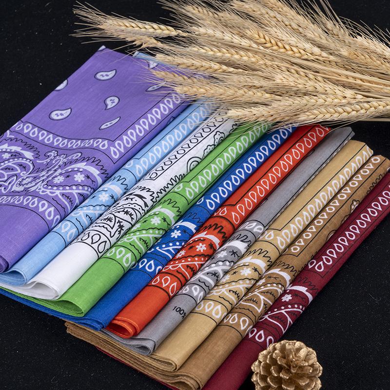 In Stock Cheap Wholesale Multi Colors Headwear Scarf Paisley Polyester Cotton Square Custom Logo Printed Bandana Handkerchief