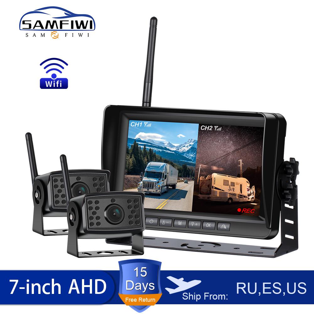 "2ch AHD Wireless Truck DVR Car Monitor Car Display Screen 7"" IR Night Vision Reverse Backup Recorder Wifi Camera For Bus RV"