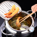 LMETJMA Japanese Deep Frying Pot with a Thermometer and a Lid 304 Stainless Steel Kitchen Tempura Fryer Pan 20 24 cm KC0405 preview-1