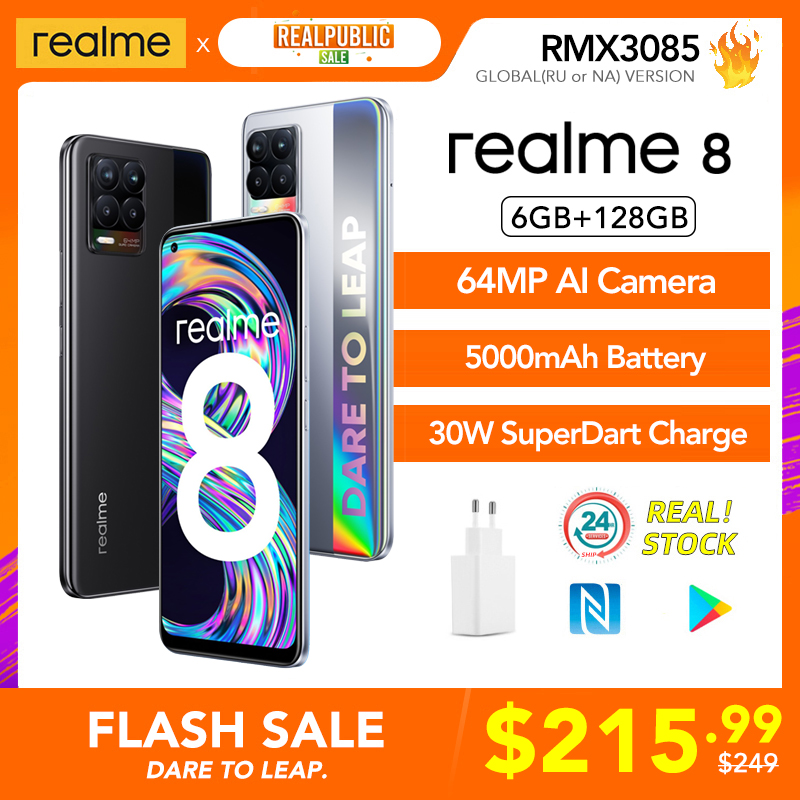 realme 8 Russian Global Version 6GB 128GB 30W SuperDart Charge Helio G95 AMOLED Display 64MP Camera 5000mAh Battery NFC Phone