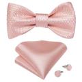 Pink Plaid Solid Men's Self Tie Bow Tie Silk Jacquard Woven Wedding Party Bowtie Hanky Brooch Set Men Butterfly Necktie DiBanGu preview-3