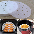 100/50 Pcs Air Fryer Steamer Liners Premium Perforated Wood Pulp Papers Non-Stick Steaming Basket Mat Baking Cooking Tools preview-4