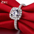 Fashion Luxury Crystal Engagement Ring for Women AAA White Cubic Zirconia Silver color Rings 2020 Wedding Trend Female Jewerly preview-2