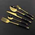 6/30pcs Ceramic White Gold Dinnerware Set Stainless Steel Cutlery Home Fork Spoon Knife Dinner Set Green Gold Flatware Set preview-3
