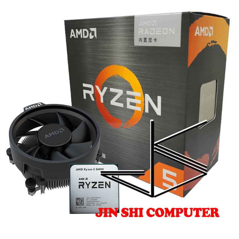 AMD Ryzen 5 5600G R5 5600G 3.9GHz Six-Core Twelve-Thread 65W CPU Processor L3=16M 100-000000252 Socket AM4 New and have fan