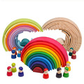 Baby Toys Large Rainbow Stacker Wooden Toys For Kids Creative Rainbow Building Blocks Montessori Educational Toy Children preview-1