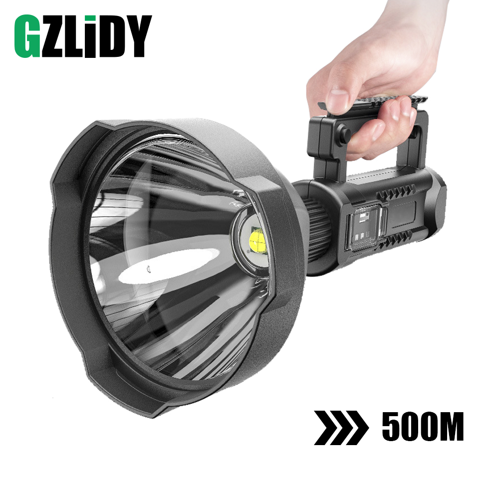 Powerful LED Flashlight Portable XHP70.2 Torch USB Rechargeable Searchlight Waterproof Spotlight with Base Fishing Light Lantern