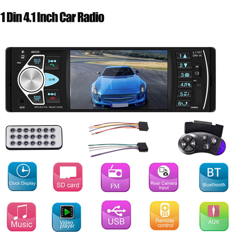 New4.1 Inch HD Large Screen Hands-free Car MP5 Player Card U Disk Radio Reversing Audio Player Radio Station With Remote Control