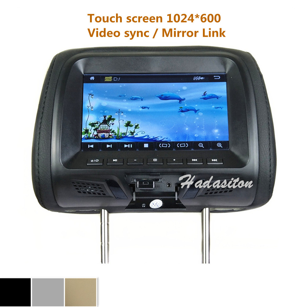 """Universal 7"""" touch screen 1024*600 Car Headrest monitor MP5 player Pillow Monitor Support Video sync/ Mirror Link/ Headphone"""