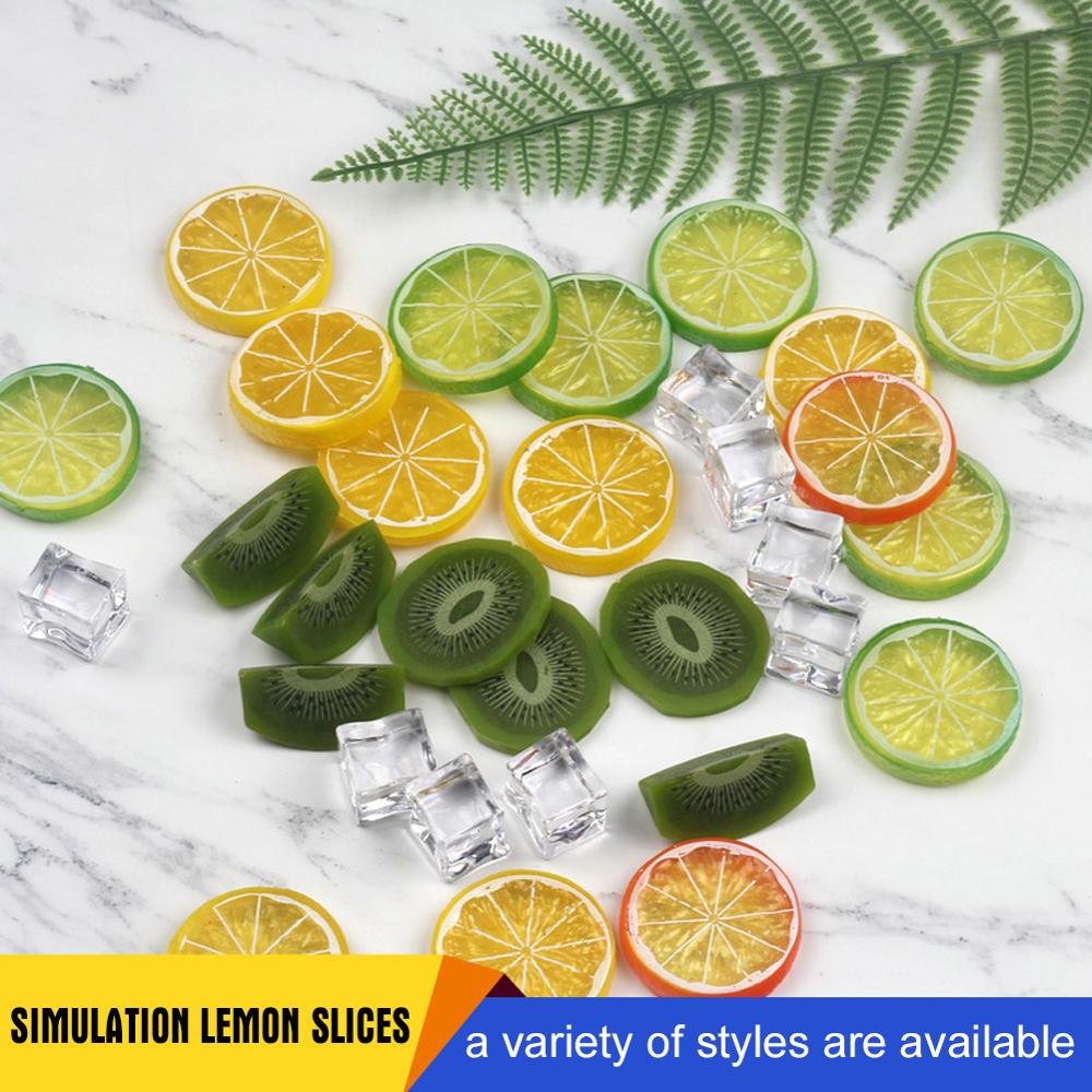 Mini Photography Props Simulation Fruit Slices & Artificial Ice Cubes for Studio Photo Desktop Shooting Decoration Accessories