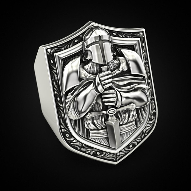 Vintage Templar Knight Rings for Men Domineering Hip Hop Style Christianity Crusaders Religious Ring Jewelry Accessories