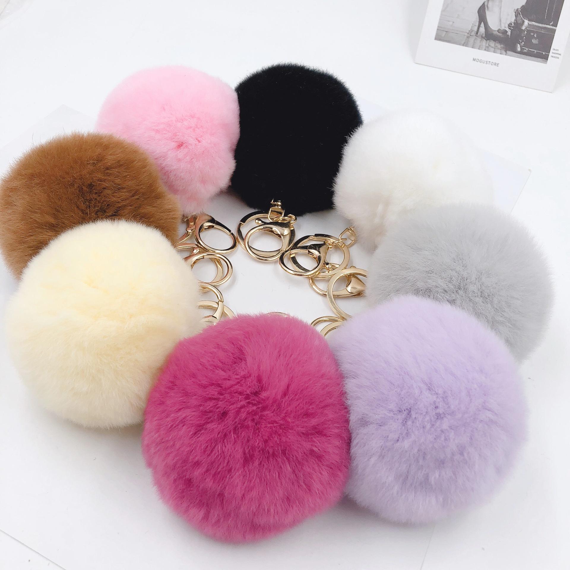 1pcs 8cm Fake Fur Brand Bag Keychain Pompom Car Keyring Gold Color Chains Pompons Fake Fox Rabbit Fur Charms Chain