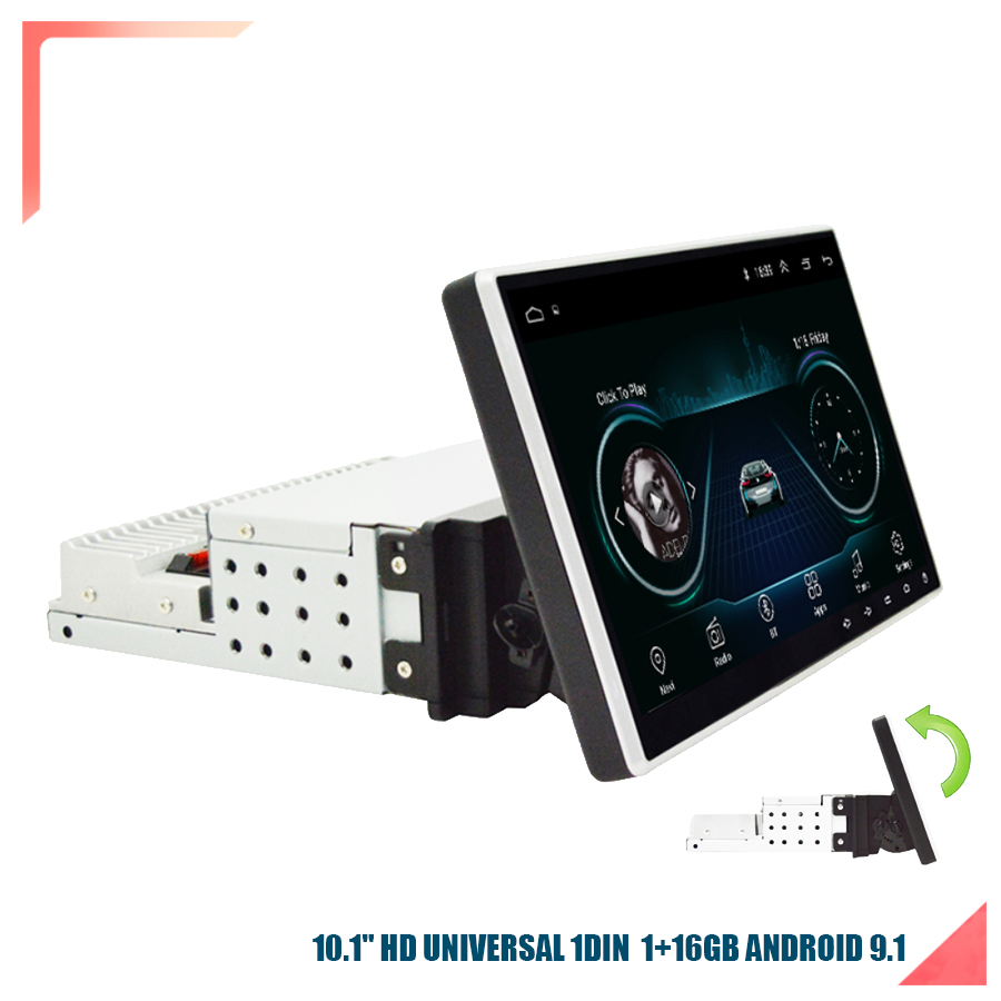 """1DIN Adjustable Universal 10.1"""" Car Stereo Radio 1GBRam 16GBRom 1080p Touch Screen Gas Wifi"""